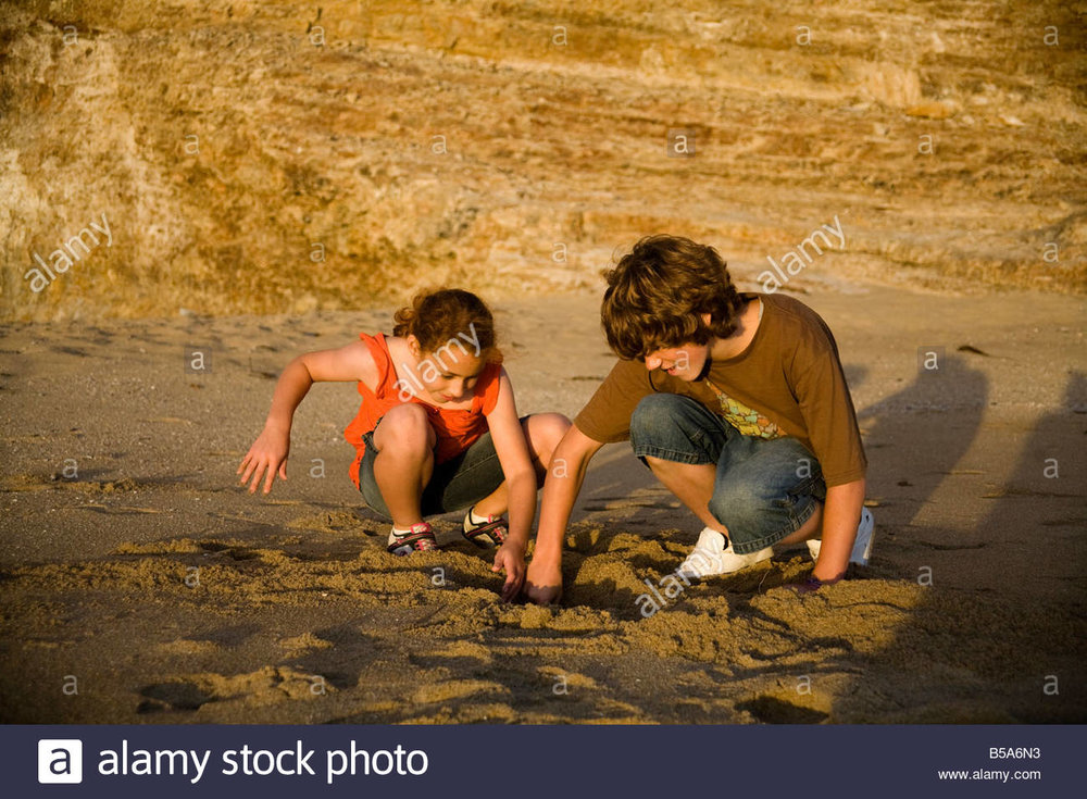 kids-digging-in-the-sand-on-the-beach-B5A6N3.jpg