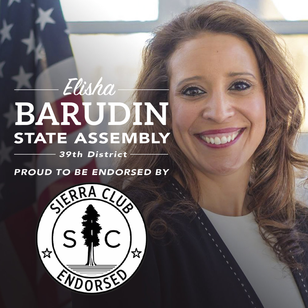 "Sierra Club Endorses Elisha Barudin - The Sierra Club has announced its endorsement of Elisha Barudin's candidacy for State Assembly in appreciation of her demonstrated commitment to protecting the environment.""Elisha Barudin is the Sierra Club's choice for 39th Assembly District because we know she will work to protect our environment for Wisconsin families,"" said Dave Blouin, Sierra Club State Political Director. ""Elisha's commitment to conservation and fighting climate change stands in stark contrast to her opponent's poor voting record for big polluters. The Sierra Club is proud to endorse Elisha Barudin and we will work hard for her election to the Assembly."