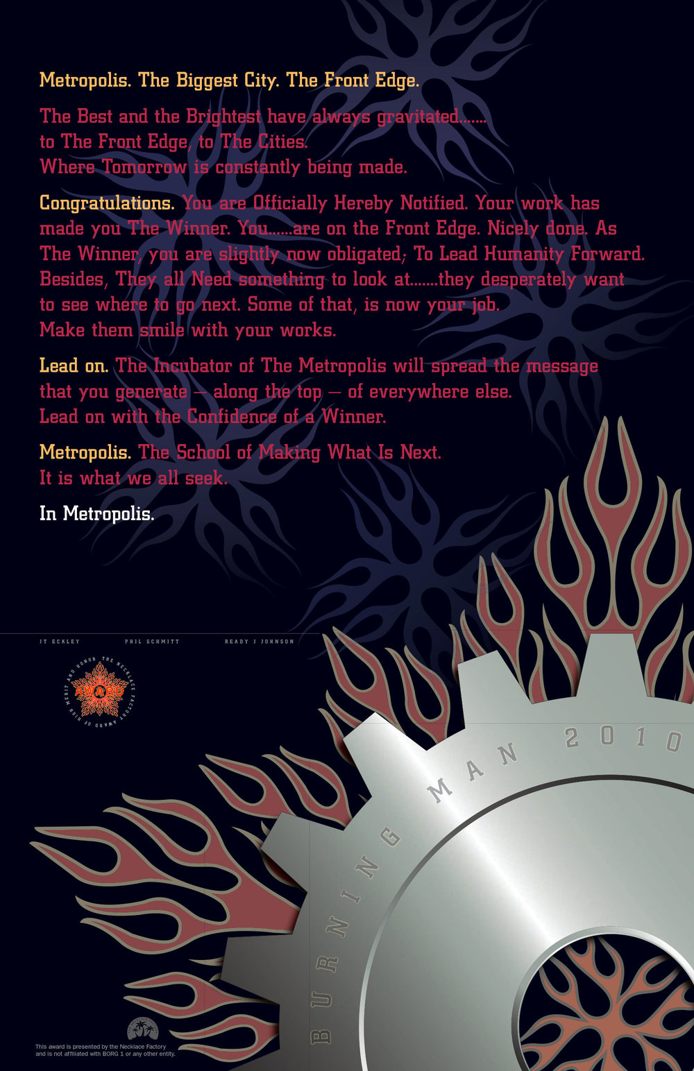 2010 Necklace Factory Burning Man Certificate  – Edition of 350 numbered and signed certificates