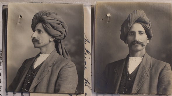 Khan's photograph, taken in 1916, was for an application for an exemption to the White Australia policy, made on the basis of his 'good character'.
