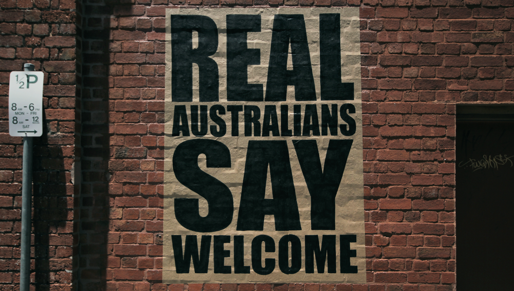 "The artist Peter Drew is also responsible for the ""Real Australians Say Welcome"" campaign."