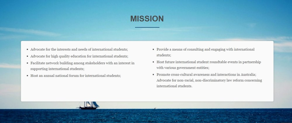 Council of International Students Australia Mission Statement. Photo source: CISA  website