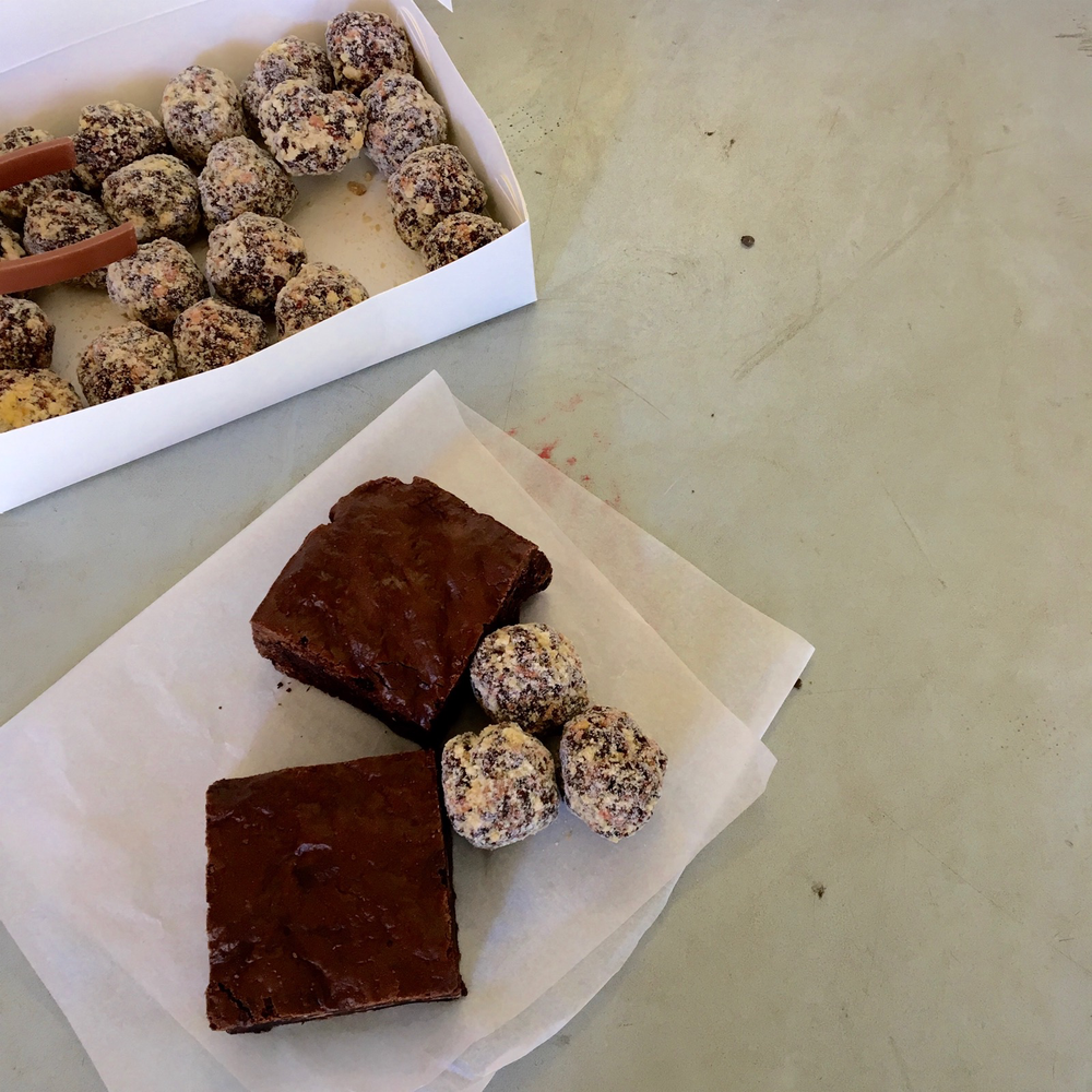 Brownie ($4) and bliss balls ($2.40) from the FOOD CO-OP. The prices are lower for members and volunteers.