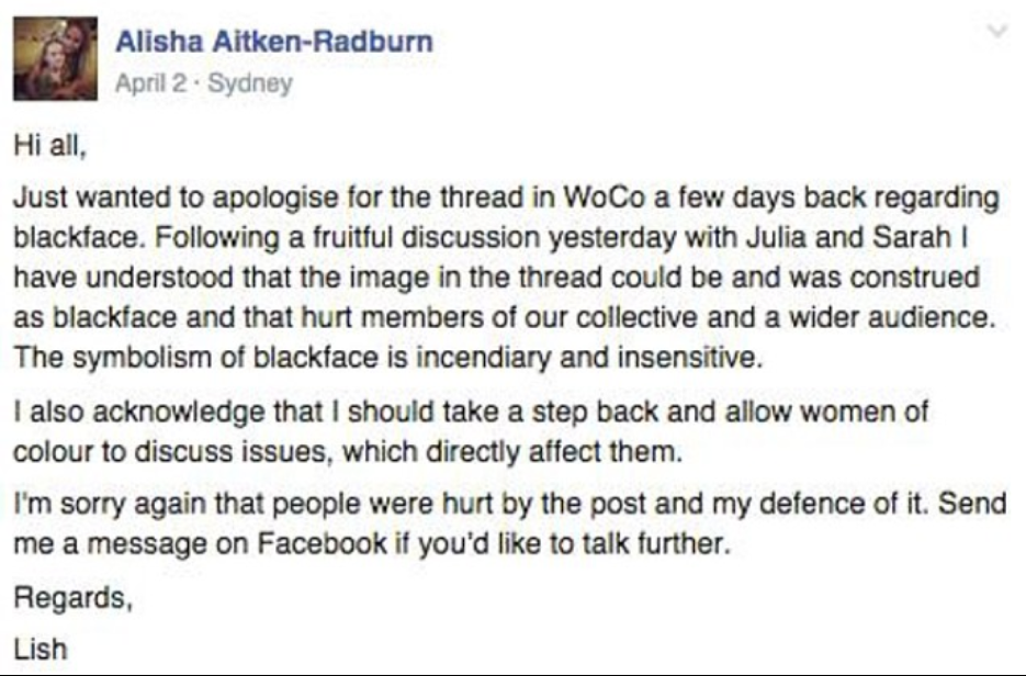 The Facebook apology made by Alisha Aitken-Radburn regarding the 'blackface scandal', which was published in Honi Soit in 2015