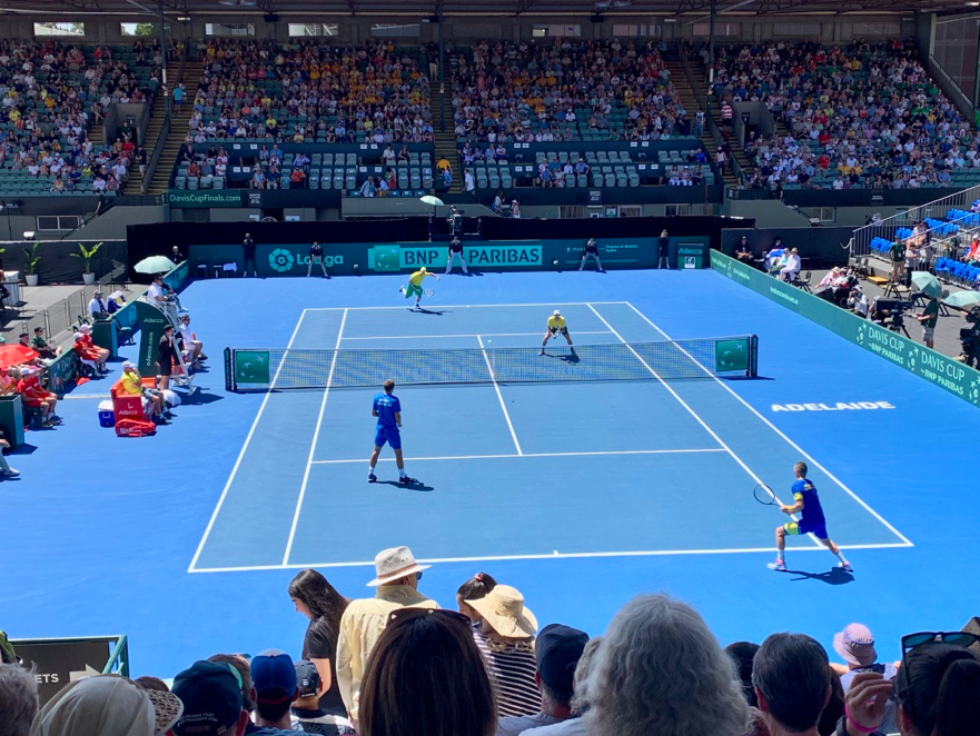 John Peers and Jordan Thompson serving against Bosnia and Herzegovina at the 2019 Davis Cup in Adelaide Source: Kiran Gupta