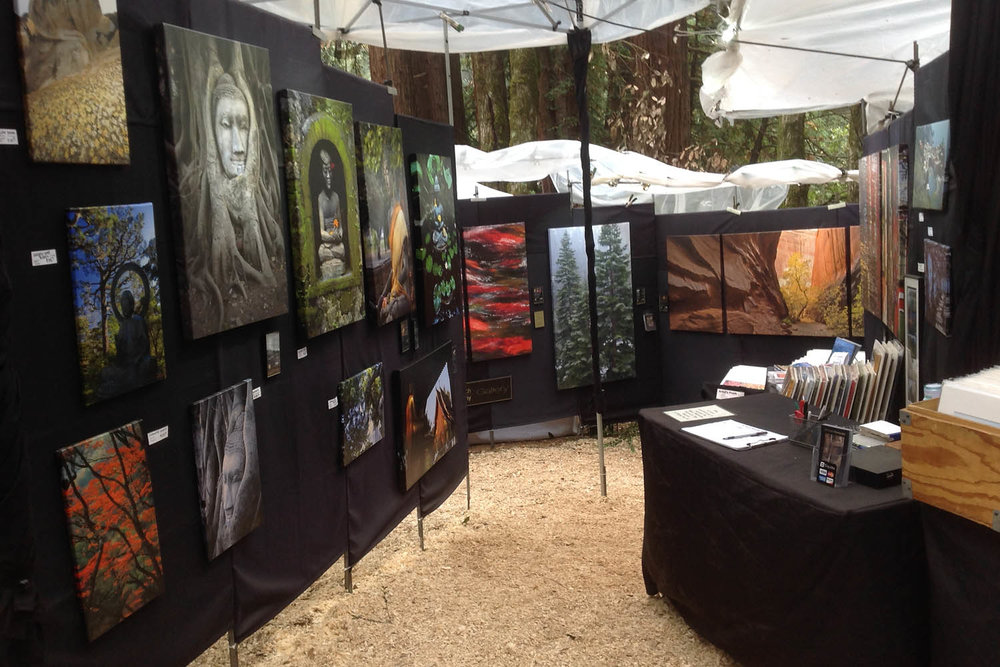 Our booth is on a slope in the Redwoods... - wear comfortable shoes.