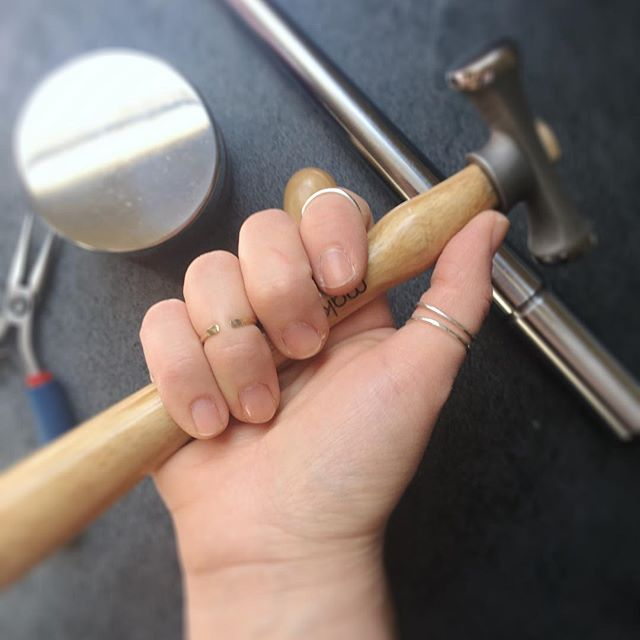 These battered hands have made over 100 pieces of jewelry in the last week. 💪🏻 🔨 #handsandhustle #shopsmall . . . . . . . . #hammeredjewelry #hammerandanvil #mybeautifulmess #rings #stackingrings #makersgonnamake  #searchwandercollect #postitforaesthetic #exploretocreate #seekthesimplicity #allwhatsbeautiful #petitejoys #flatlayoftheday #hammeredjewelry #photoshoot #livecreatively #nothingisordinary #risingtidesociety