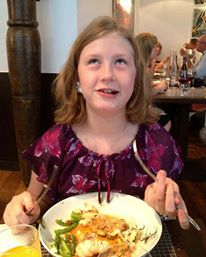 Abigail feasts on monk fish, zucchini flowers, buttery noodles on her 10th birthday in Paris.