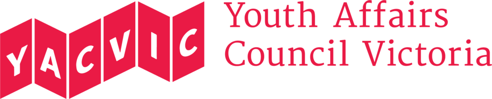 Youth Affairs Council Victoria logo in red with the words 'YACVIC' in a pictogram that looks like six red flags or steps.