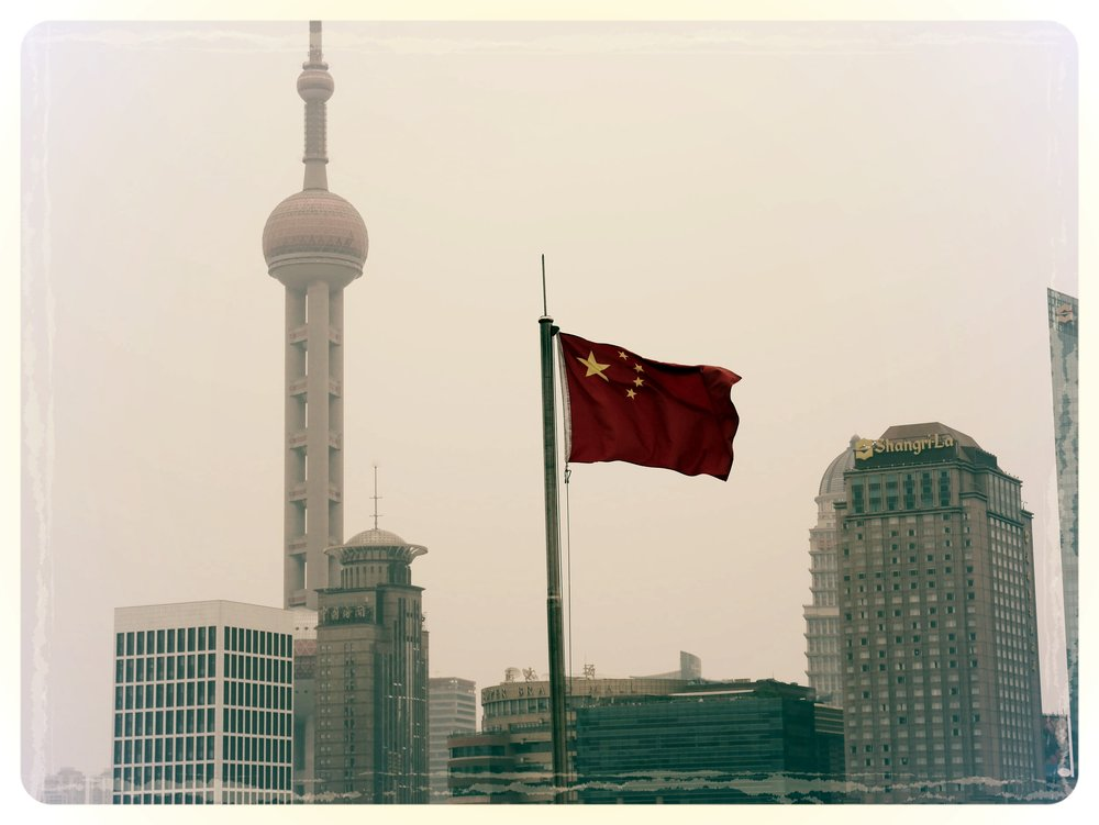 Chinese Flag over Pudong. Shanghai, China © HD Grzywnowicz, 2015