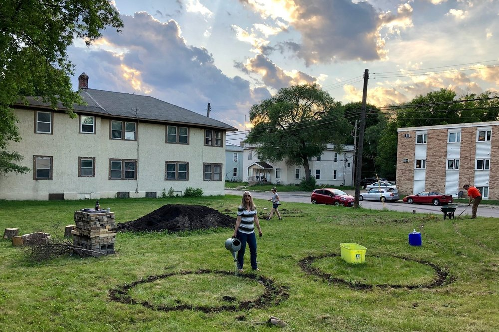 I am one of the neighbors creating     Dirt Party      (2018-2019)   , a wild-built garden and community gathering space in Northeast Minneapolis, where we are growing food and community, in an effort to deepen our relationships with place, ecology, and practices of collective care.