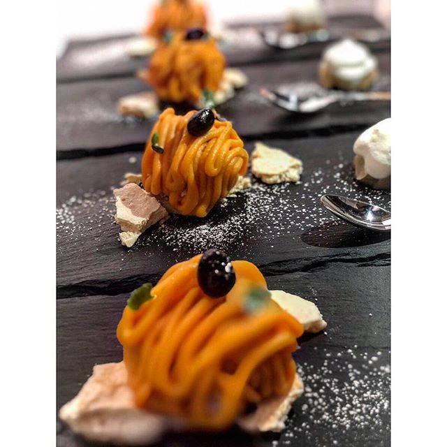 New dessert alert ! We have a chocolate cake 🍫 served over a roasted soy bean mousse topped with a Sweet potato 🍠 montblanc topped with a sweet black bean served with  Meringue 🧡 . . . #torikony #toriko  #japanesecruisine #japanesedessert #japan #nyc #greenwichvillagenyc #westvillage #greenwichvillage #infatuation #infatuationnyc #desserts #dessertporn #dessertgram #foodiesofinstagram #foodporn #foodgasm #foodblog #foodie52