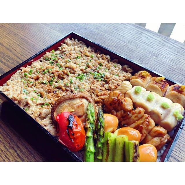 Next Tuesday we will be adding a Toriko bento box 🍱 to our al la carte menu ! It will include 4  yakitori 🍢 skewers which will be  chef's choice , grilled veggies will also be chef's choice served over soborodon ( ground chicken served over white rice 🍚 topped with chives ) with a side of chicken soup .  Pictured here starting from the top right we have  Dakimi 🍗- chicken breast topped with yuzu  Sabiyaki - 🐓 chicken tenderloin topped with wasabi  Momo 🐔- chicken thigh dipped in soy sauce topped with ginger juice Shiratama - quail egg 🥚 dipped in sweet soy cause  Grilled asparagus  Grilled tomato 🍅  Grilled shiitake mushroom 🍄 . . .  #torikony #nyc #nycrestaurants #greenwichvillagenyc #yakitori #omakase #bentobox #aspargus #chickenbreast #chickentenderloin #wasabi #shiitake #chickensoup #soborodon #chickenthighs #quailegg #eeeeeats #infatuation #infatuationnyc #foodporn #foodiesofinstagram #foodie #foodblog #foodphotography #food52 #foodblogger #foodbeast #japaneserestaurant #japanesecrusine #japanesebar