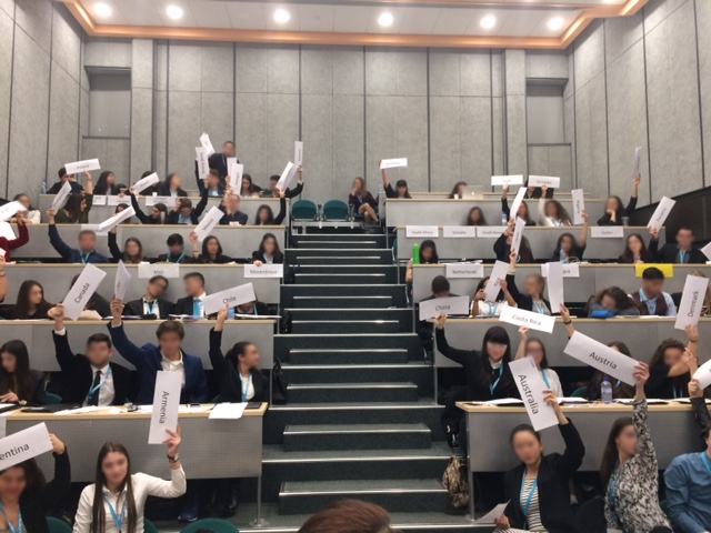 """Given the size of typical MUN conference room and the number of delegates, it would be a nightmare of the chair to look at the tiny letters on each placard."""