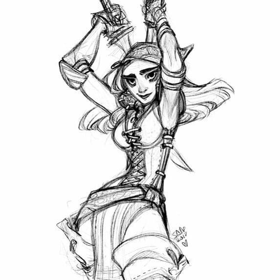 Isabella from my Dragon Age stream :  . . . . . . #dragonage #dragonage2 #isabella #rogue #knives #pirate