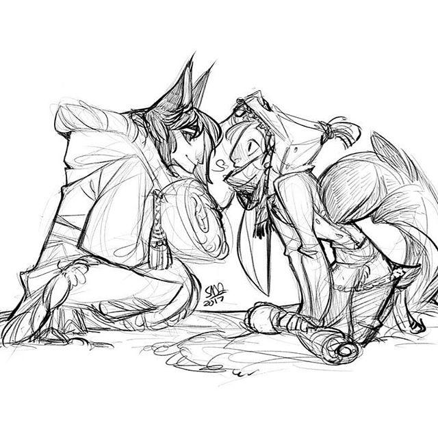 Kaid and Iivari doodles :) . . . . . #cat #bunny #fda #camping #sketches