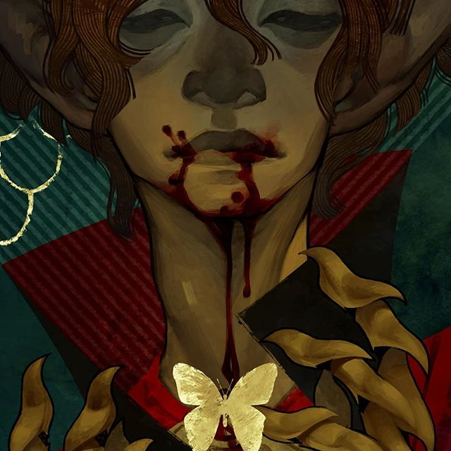 Tarot card for one of my inquisitors :) . . . . . . #tarot #dragonage #gold #blood #elf #illustration