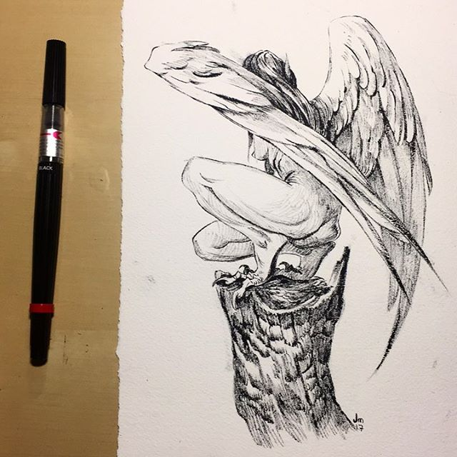 Inktober five - something more simple this time. Also I think I found my schtick with the dry brush . . . . . . #inktober #inktober2017 #inktoberday5 #harpy #art #artistsoninstagram #ink #blackandwhiteonly #sketch #fantasy