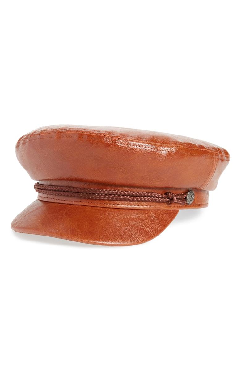Brixton Faux Leather Fiddler Cap