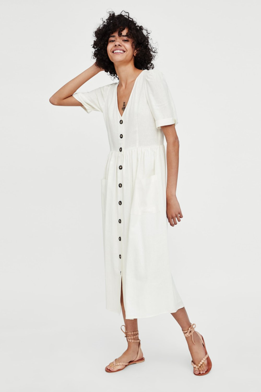 ZARA - MIDI DRESS WITH BUTTONS
