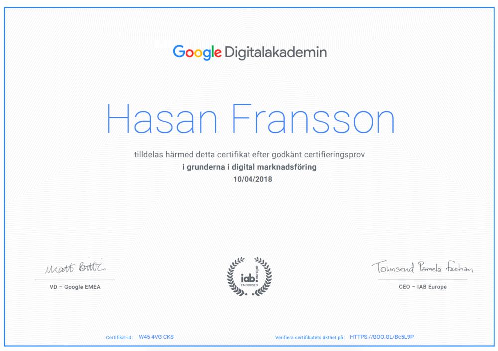 Digitalakademin cert Hasan Fransson.png