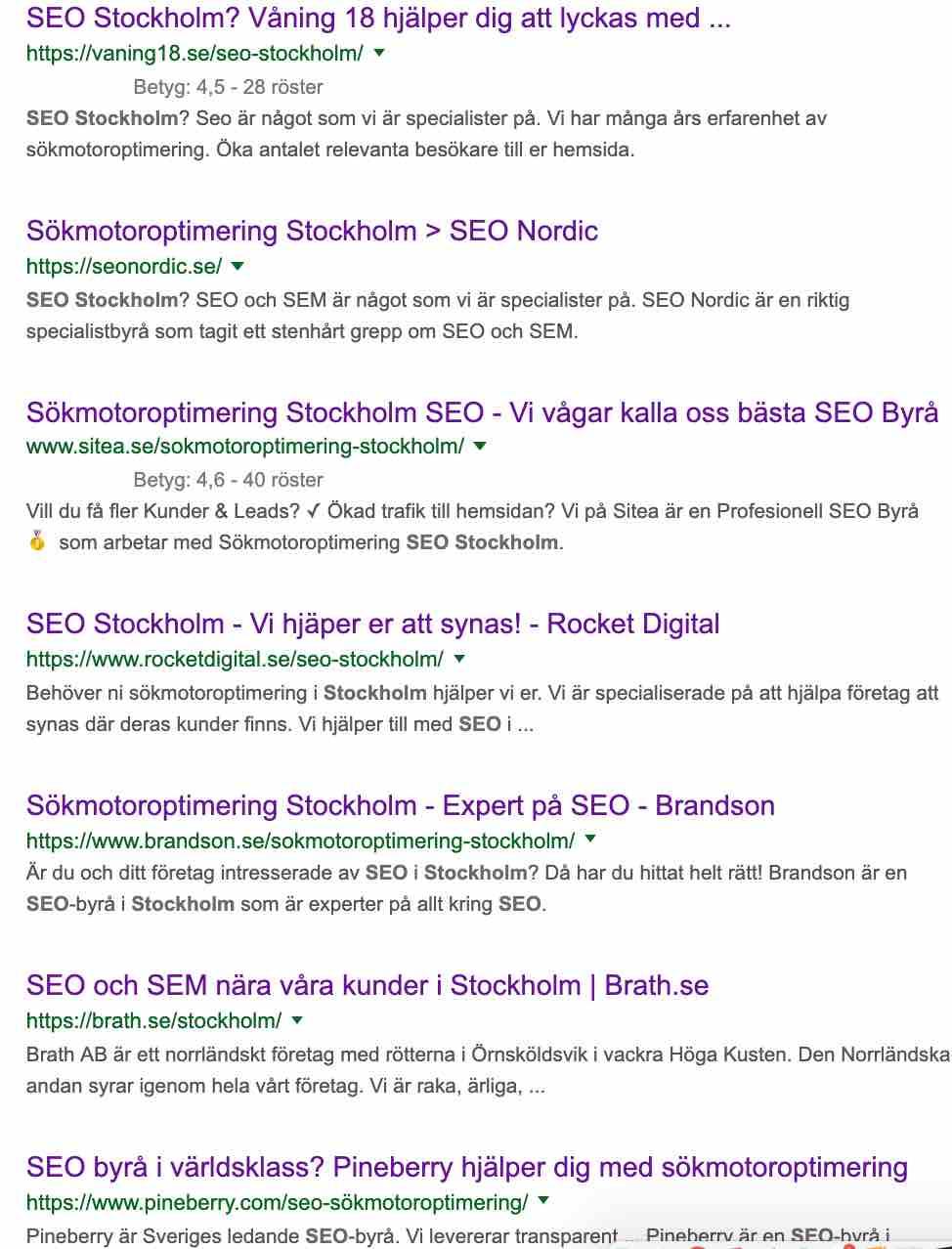 Topp 7 sökresultatet för sökningen SEO Stockholm tisdagen den 9:e April 2019
