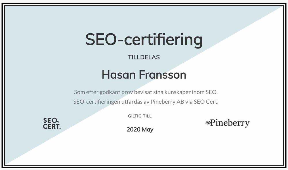 SEO-certifiering för Hasan Fransson. Tack Pineberry för det utmärkta testet.