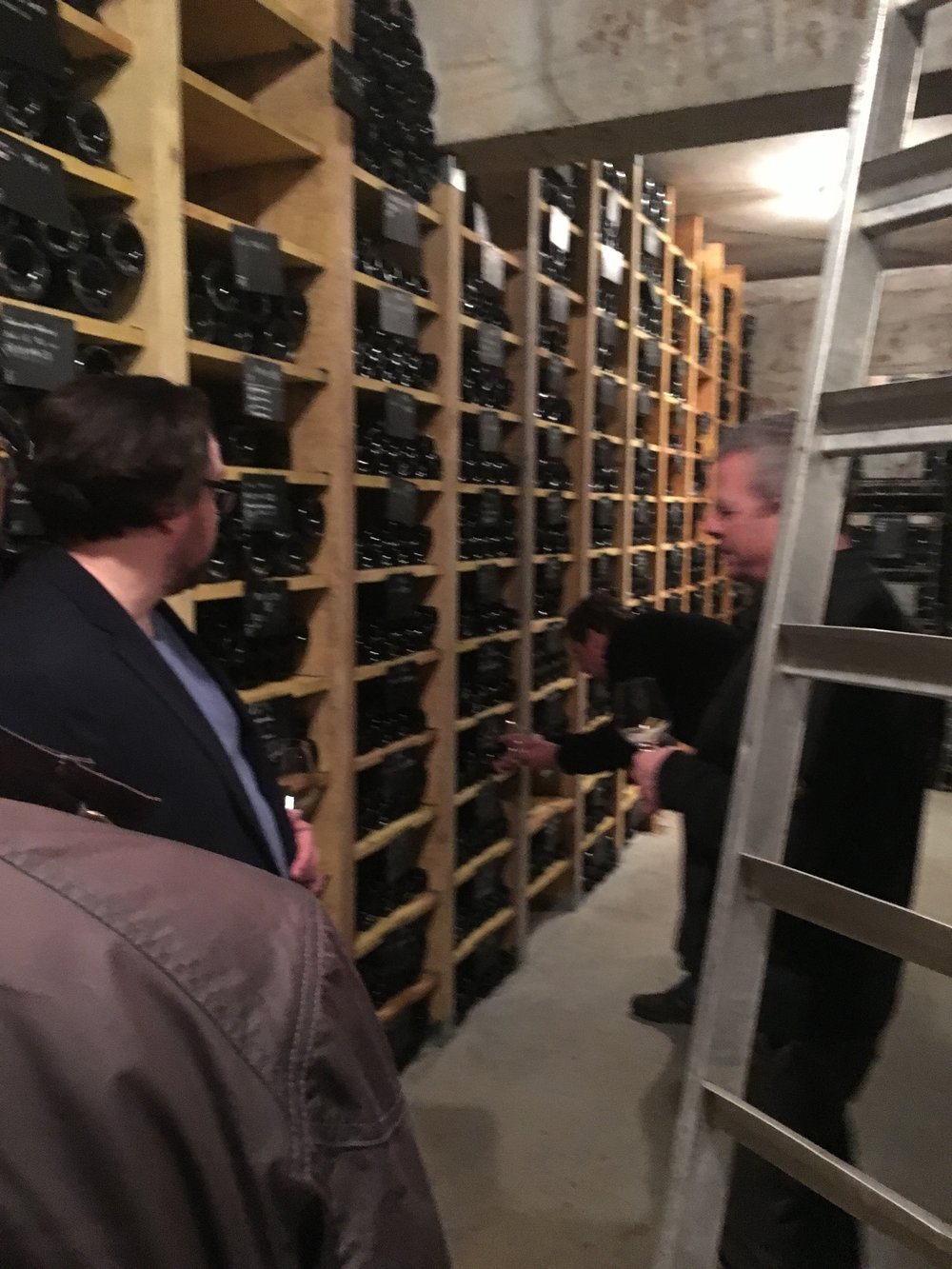 David Duband shops for tasting wine in the cellar