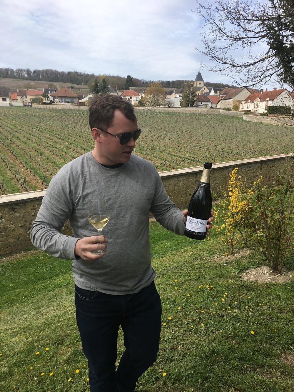 drinking Le Mesnil-sur-Oger Champagne in Clos de Mesnil