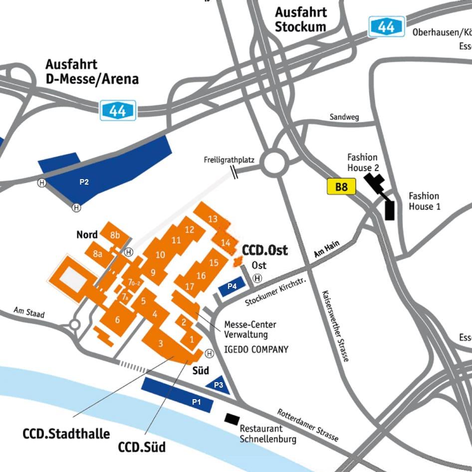 Parkplätze finden Sie in unmittelbarer Umgebung des CCD (Düsseldorf)