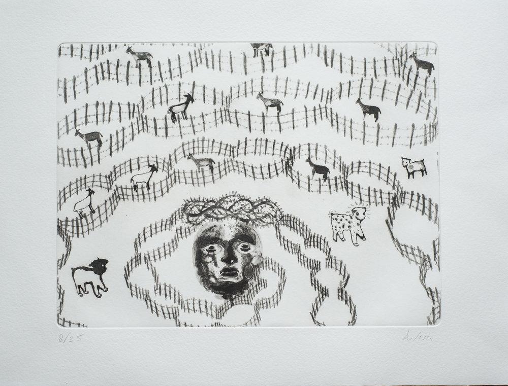 ANTONIO SOSASabemos más de los Cordeles y Veredas los pintores que los pastores, porque el artista representa un trozo del acuerdo que firmó con su alma un buen día de otoño, cuando las cabras suben al monte para buscar entre el pedregal finas hierbas antes de ser encerradas en las trincheras negras que dejan sus líneas de tinta. -