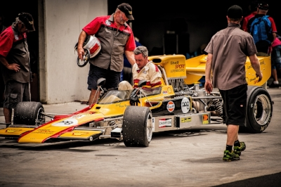 Pedaling a Lola T330 with his dad