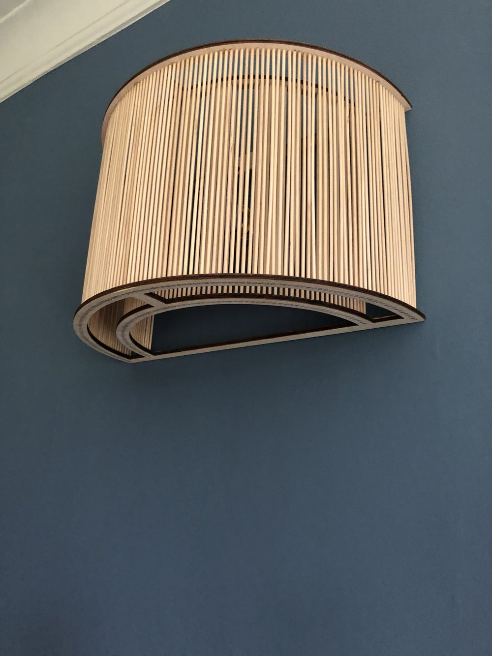 Wooden wall lights, please enquire within.