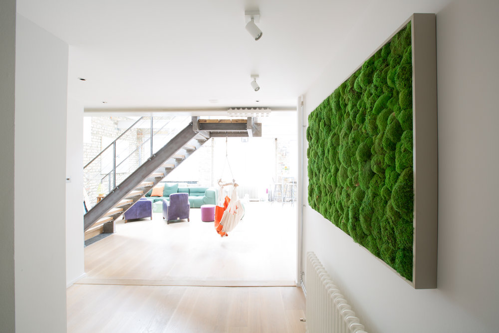 Lancaster Gate  interior design project: Real Moss at the entrance.