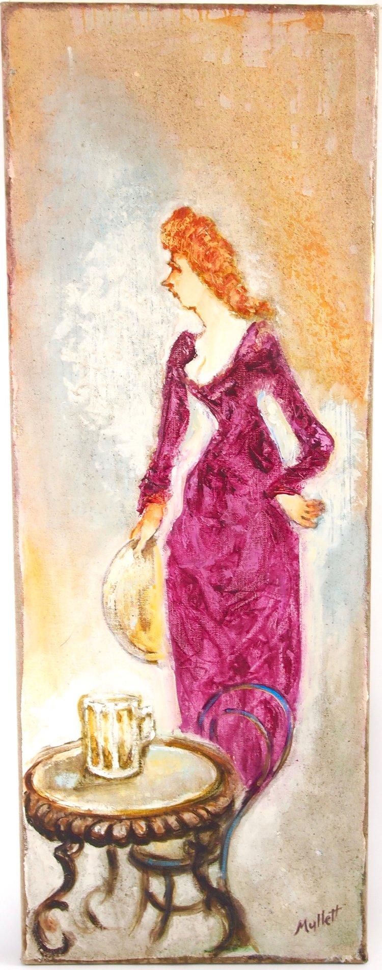 Waitress in Red Velvet Dress