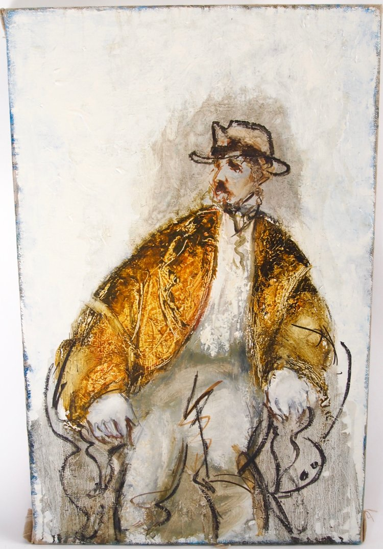 Seated Male Figure in Brown Jacket