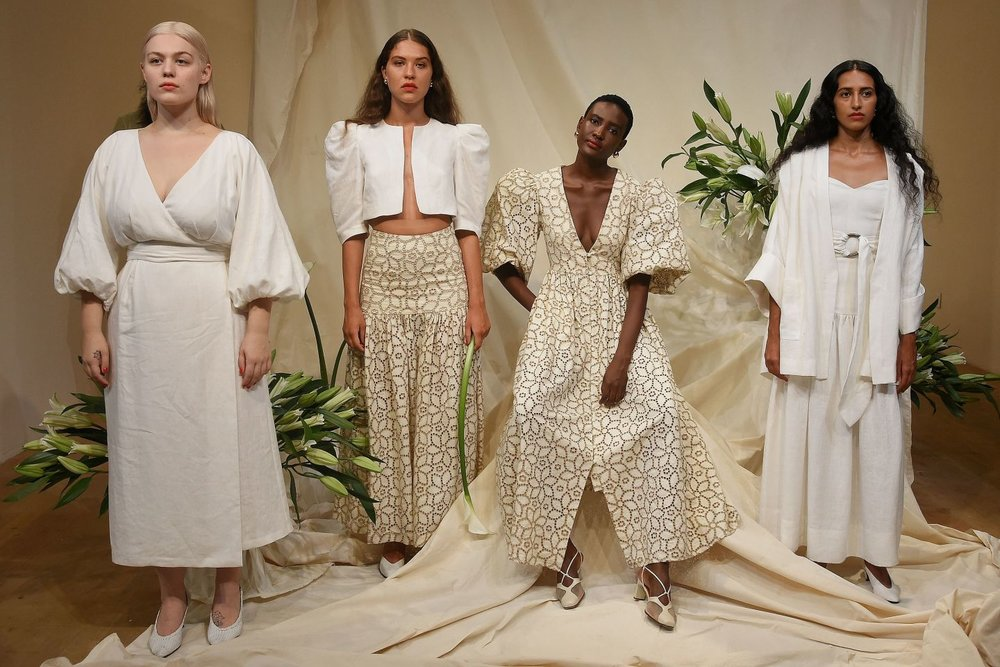 Model Munira Zulka (second from right) with her peers at the Mara Hoffman presentation