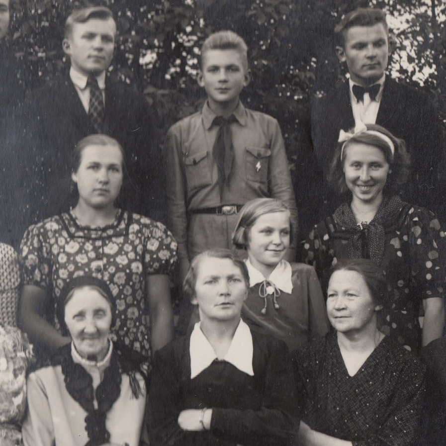 Romas Viesulas pictured upper right, alongside brothers, and  mother and sister, center, before emigrating.
