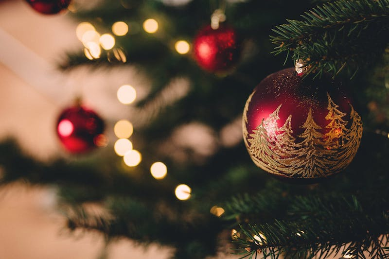 Closeup of red Christmas ornament