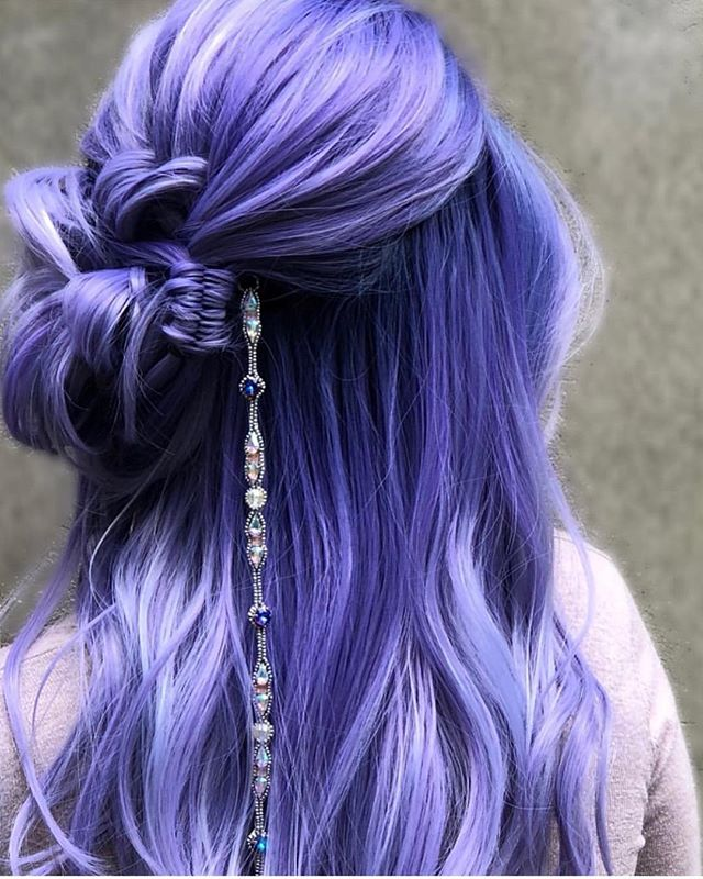 Look at this Piece of Art by @braidedandblonde !  _ _  #pieceofart #purplerain #purplehair #braids #plaits #jewelry #braidedhair #hair #behindthechair #modernsalon #jbeverlyhills #haircolor #haircolour #weekendgoals #hairblogger #photoshoot #influencer #art #festival #hairpaint #jbeverlyhillseurope