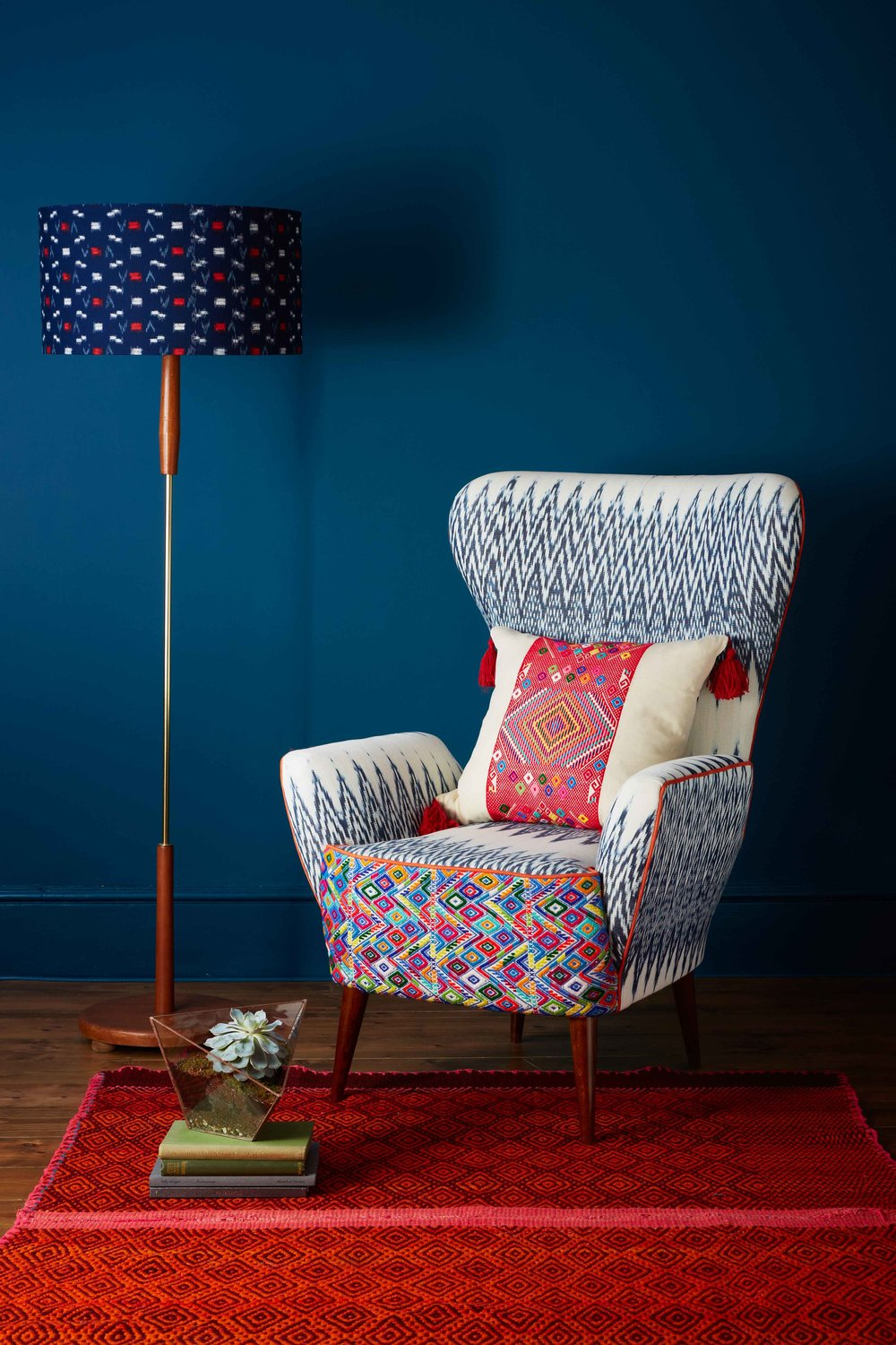 Beau Rylah Wing Chair   Catarina Ikat LR  ...