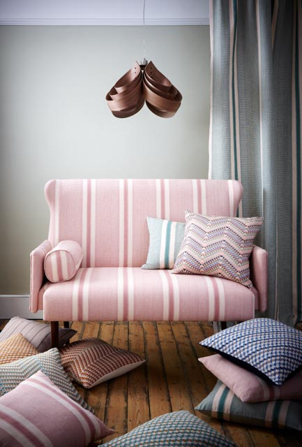 Duality Stripe Fabric Lifestyle - Curtain in Duck Egg, Windley Sofa in Palo Rosa, Assorted Cushions - A Rum Fellow.jpg