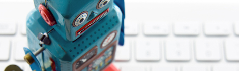 retro robot on a laptop