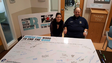 A great turn out and sign of support at the Niagara Falls Memorial Medical Center...Nearly 100 pledge signatures!! #respect #rword