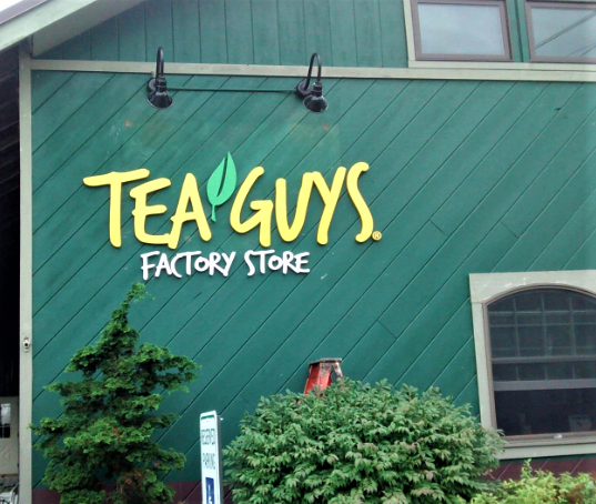 Decorative outdoor wooden signage created for Tea Guys