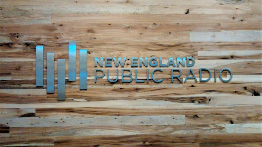 Decorative metal indoor sign created for New England Public Radio