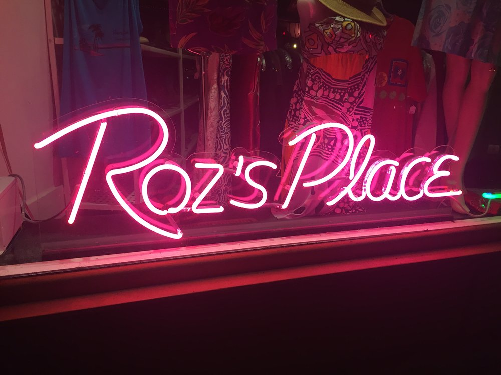 Pink neon sign created for Roz's Place in Northampton, MA