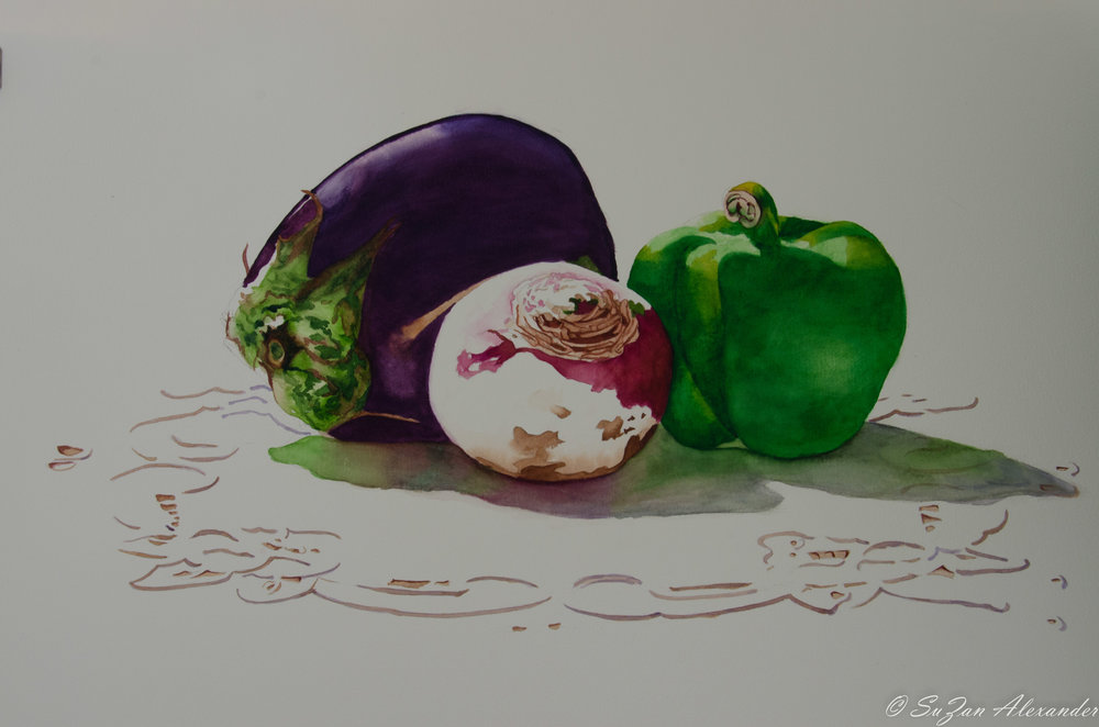Watercolor Project 6: Vegetables on a Cutwork Cloth
