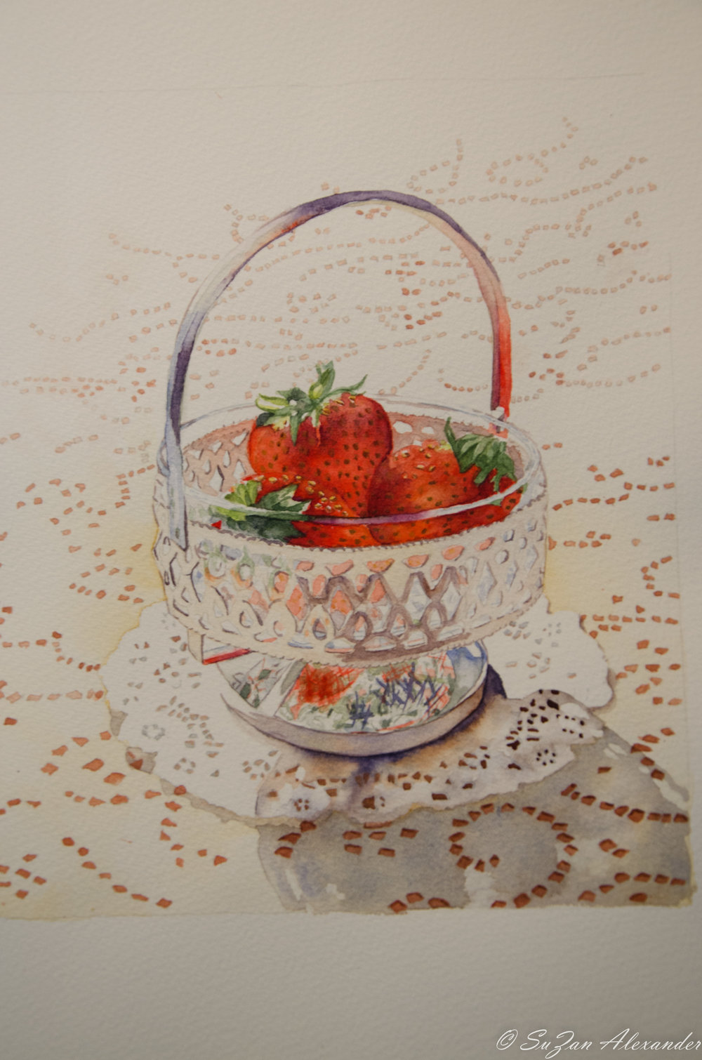 Watercolor Project 8: Strawberries and Lace