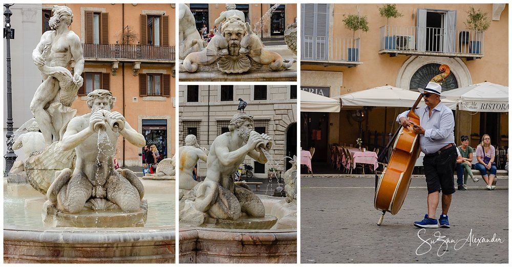 © 2018 SuZan Alexander. La Fontana del Moro Fountain and Musician Collage. Digital Photography
